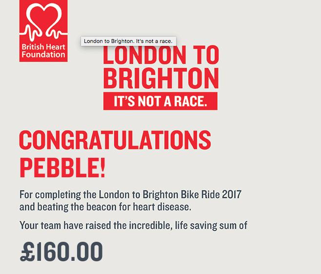 london to brighton certificate