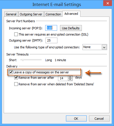 how to turn off leaving email copy on the server